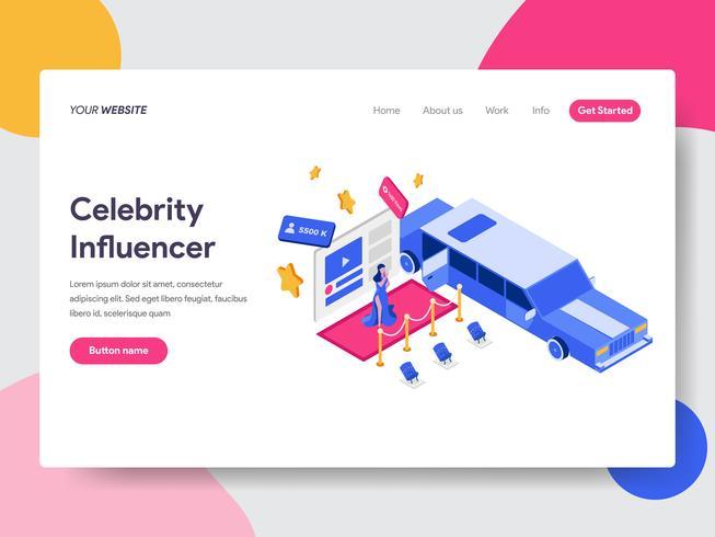 Plantilla de página de aterrizaje del concepto Celebrity Influencer Illustration. Concepto de diseño plano isométrico de diseño de página web para sitio web y sitio web móvil. Ilustración de vector