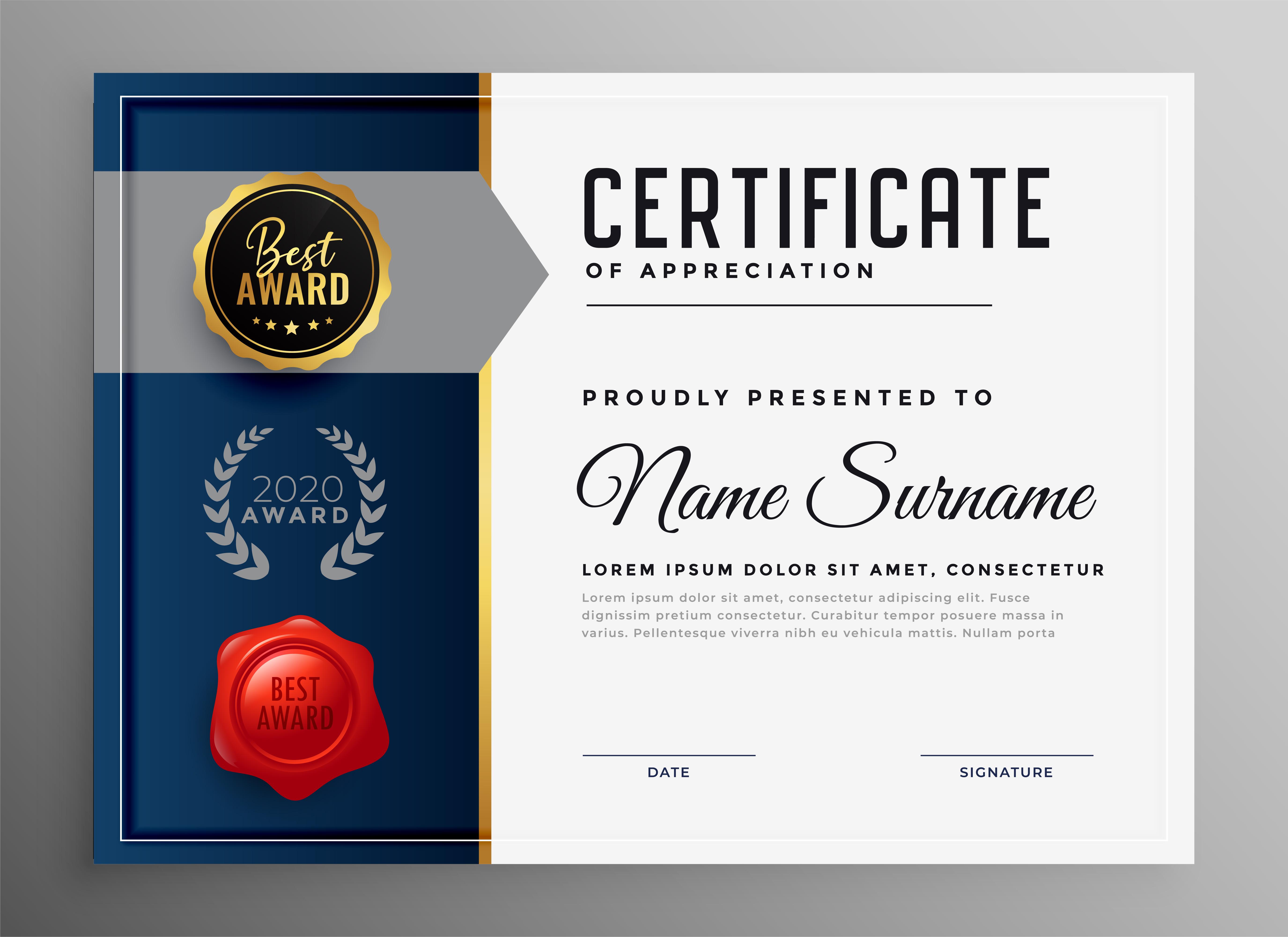certificate template appreciation professional company vector premium freepik creative collect