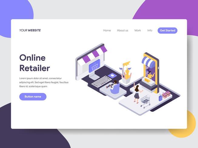 Landing page template of Online Retailer Illustration Concept. Isometric flat design concept of web page design for website and mobile website.Vector illustration vector