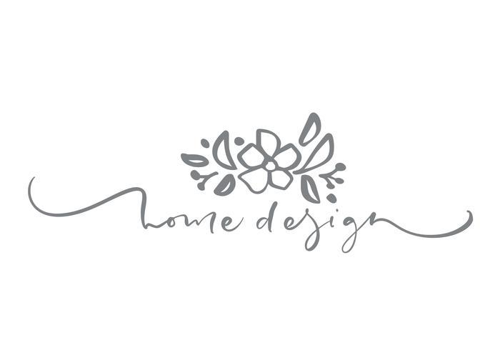 Home Design text. Vector trendy scandinavian floral hand drawn beauty.