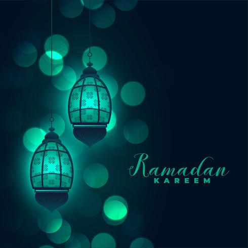 Ramadan kareem lámparas sobre fondo bokeh