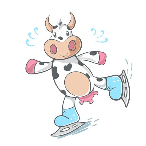 Cow, cute - ice scate illustration.