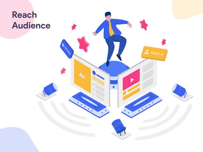Reach Social Media Audience Isometric Illustration. Modern flat design style for website and mobile website.Vector illustration