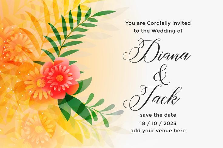 modèle de conception de carte belle invitation mariage orange