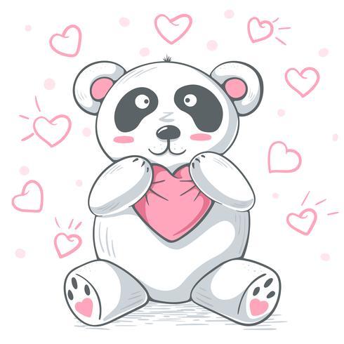 Cute teddy panda hugs love.