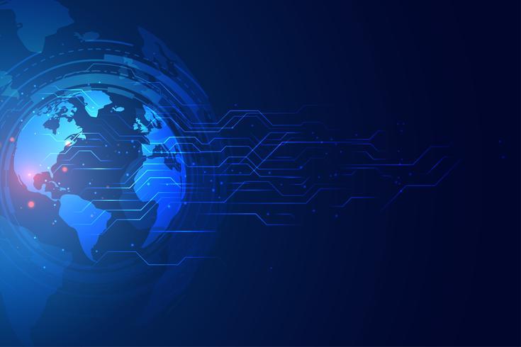 Banner de tecnología global digital con diagrama de circuito