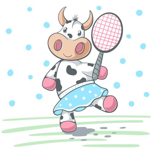Cute cow plat big tennis.