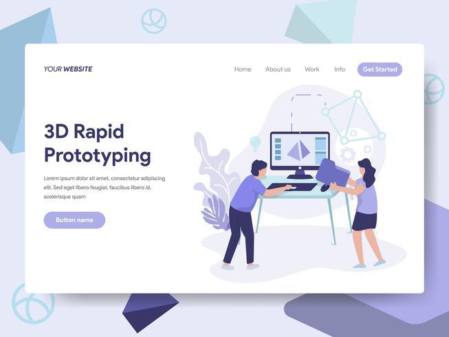 Målsida mall av 3D Rapid Prototyping Illustration Concept. Isometrisk plattformkoncept för webbdesign för webbplats och mobilwebbplats. Vektorns illustration vektor