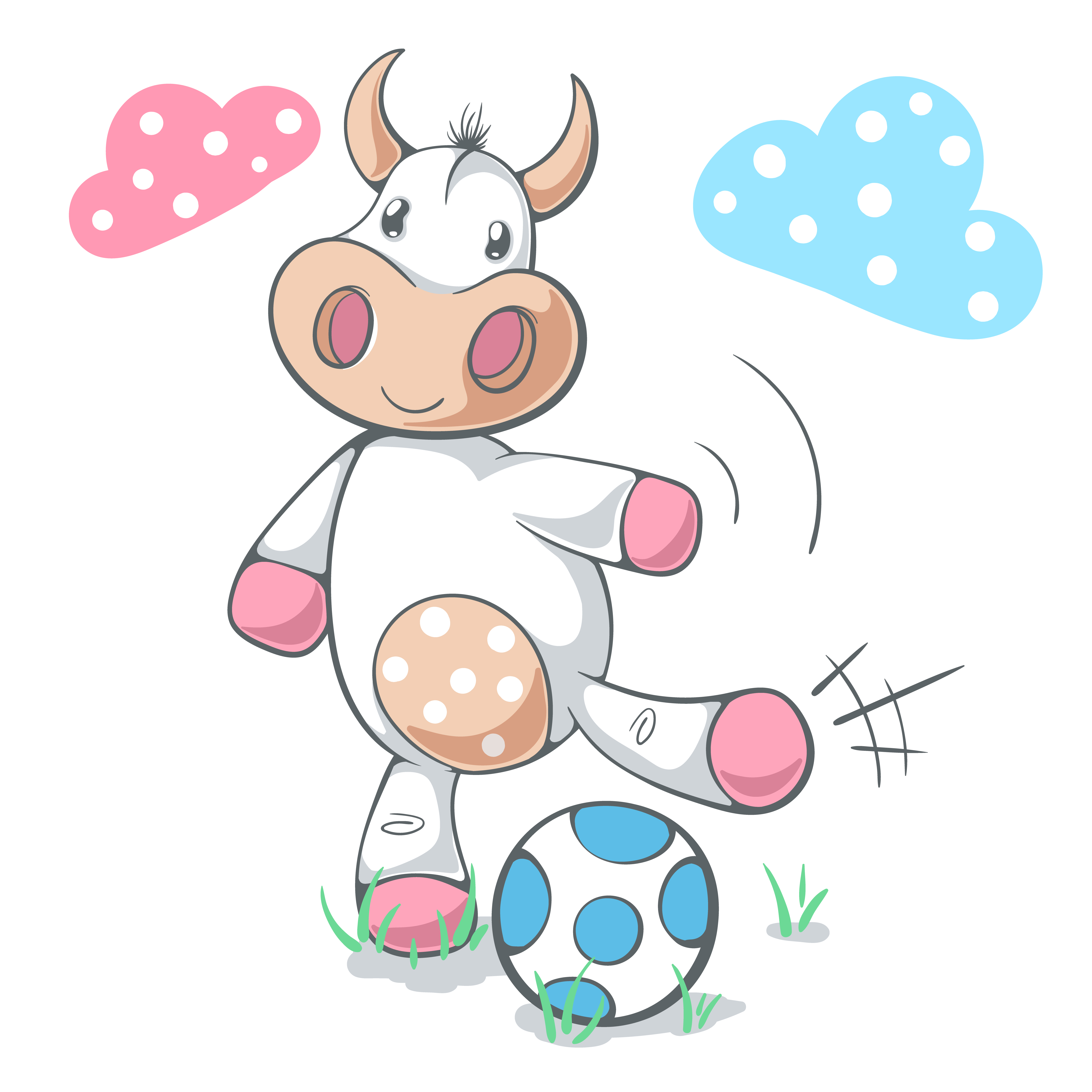 Cute funny cow play soccer, football. - Download Free ...