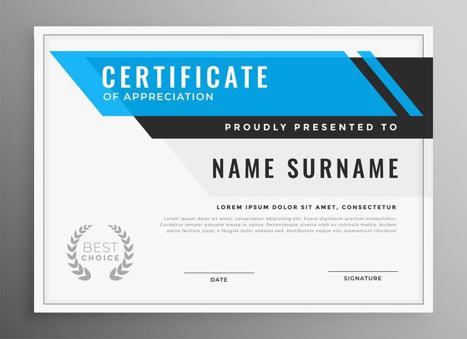 rent blått certifikat för uppskattning mall design