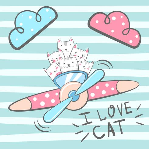 Cartoon cat, kitty characters. Airplane illustration.