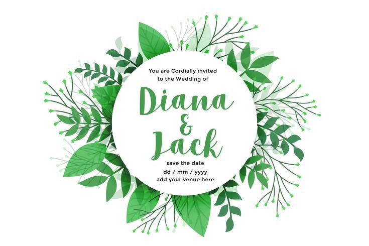 feuilles vertes conception de cartes de mariage de style nature