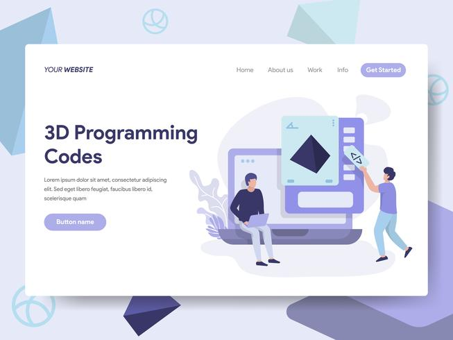 Landing page template of 3d Programming Codes Illustration Concept. Isometric flat design concept of web page design for website and mobile website.Vector illustration vector