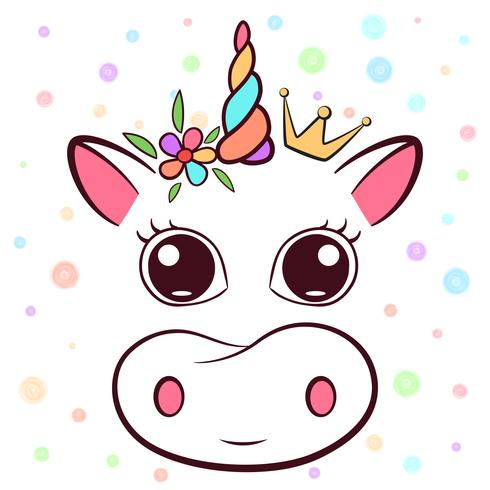 Cute cow, cowicorn characters. Idea for print t-shirt.