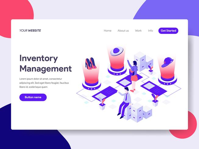 Landing page template of Inventory Management Illustration Concept. Isometric flat design concept of web page design for website and mobile website.Vector illustration
