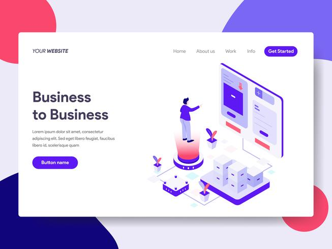Landing page template of Business to Business Illustration Concept. Isometric flat design concept of web page design for website and mobile website.Vector illustration vector
