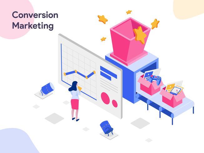 Conversión marketing ilustración isométrica. Estilo de diseño plano moderno para sitio web y sitio web móvil. Ilustración de vector