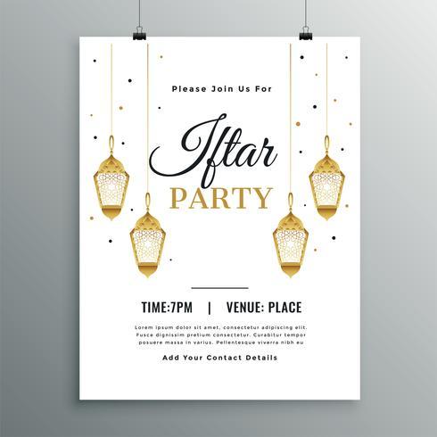 Plantilla de invitación de fiesta iftar blanco elegante