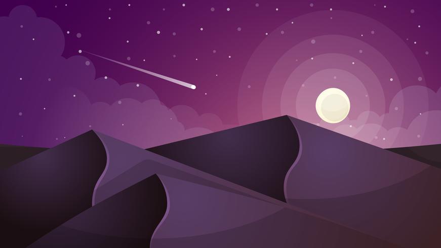 paisaje lunar. Estrella y montaña. vector