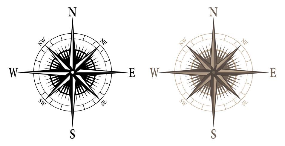 Bússola, ilustração vetorial isolado em versões preto e cor