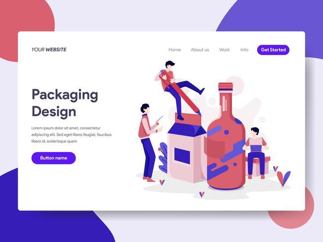 Modèle de page d'atterrissage de Packaging Design Illustration Concept. Concept de design plat isométrique de la conception de pages Web pour site Web et site Web mobile. Illustration vectorielle
