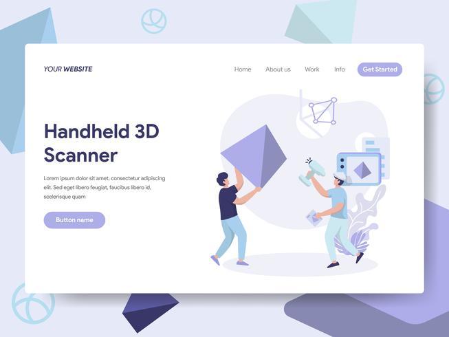 Landingspagina sjabloon van Handheld 3D Scanner Illustratie Concept. Isometrisch plat ontwerpconcept webpaginaontwerp voor website en mobiele website Vector illustratie
