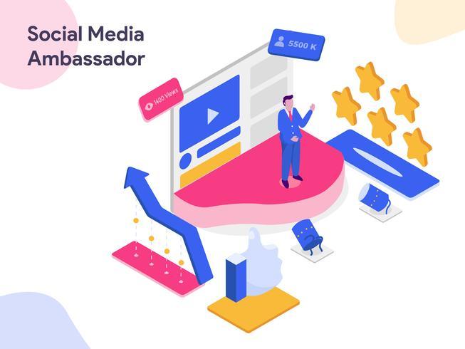 Ilustração isométrica do embaixador dos media sociais. Estilo moderno design plano para site e site móvel. Ilustração vetorial