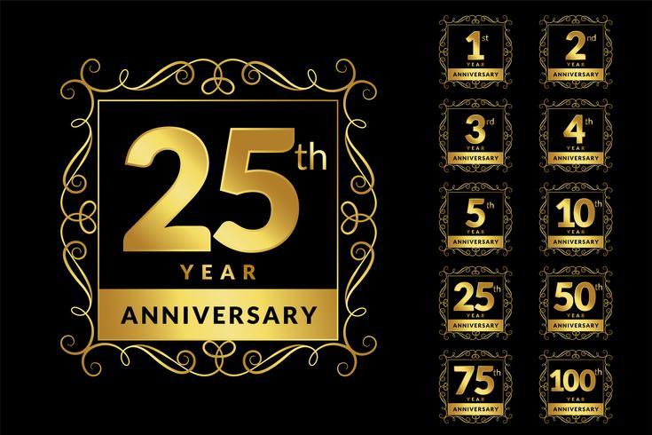 conjunto de emblema de logotipo dourado de luxo vintage aniversário