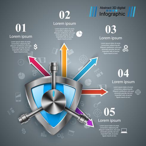 Bewaker, kluis, beveiliging, storting infographic. vector