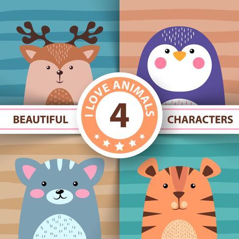 Tecknade djur - hjort, pingvin, katt, tiger
