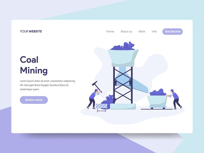 Landing page template of Coal Mining Illustration Concept. Isometric flat design concept of web page design for website and mobile website.Vector illustration vector