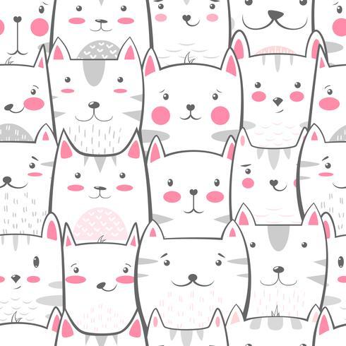 Cat, kitty - cute, funny pattern.