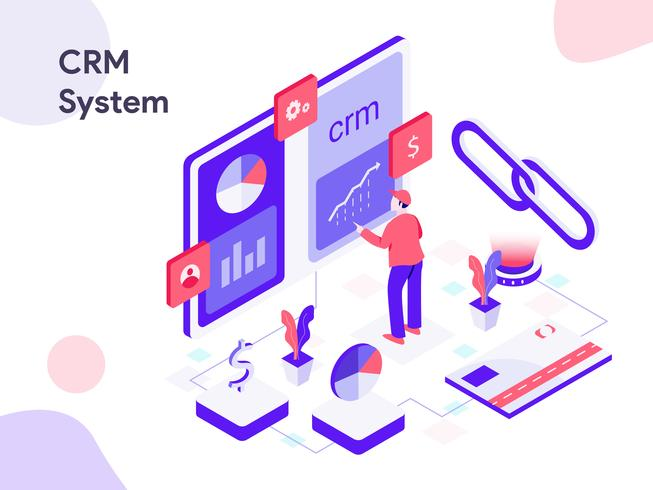 CRM System Isometric Illustration. Modern flat design style for website and mobile website.Vector illustration vector