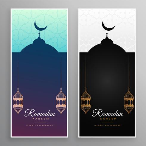 ramadan kareem mosque and lamps banner design
