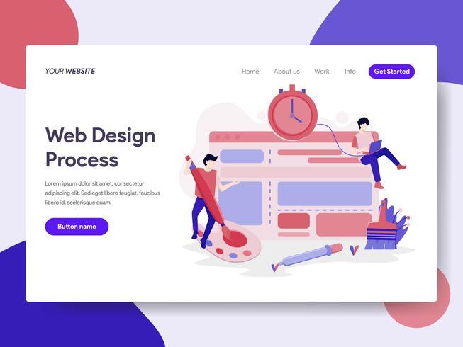 Landingspagina sjabloon van websiteontwerp proces illustratie concept. Isometrisch plat ontwerpconcept webpaginaontwerp voor website en mobiele website Vector illustratie