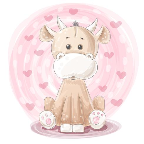 Cute cow illustration - cartoon characters. vector