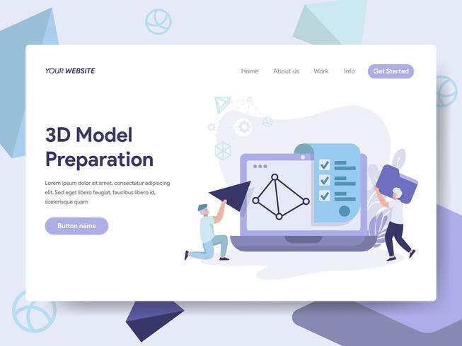 Plantilla de página de aterrizaje del concepto de ilustración modelo de impresión 3D. Concepto de diseño plano isométrico de diseño de página web para sitio web y sitio web móvil. Ilustración de vector
