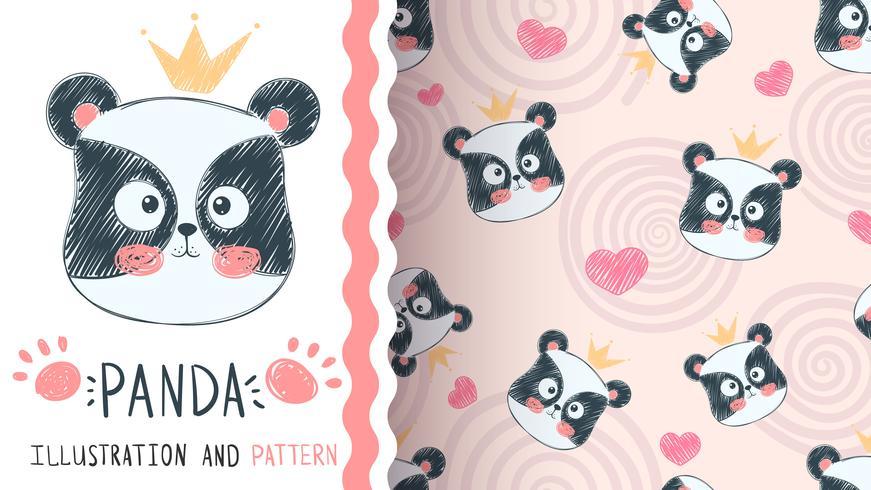 Cute panda illustration - seamless pattern vector