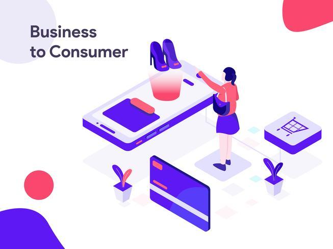 Negocio a la ilustración isométrica del consumidor. Estilo de diseño plano moderno para sitio web y sitio web móvil. Ilustración de vector