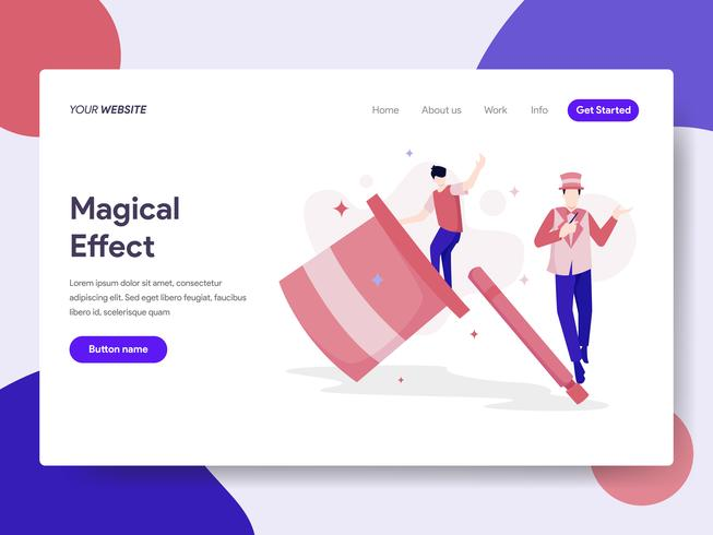 Landing page template of Magical Effect Illustration Concept. Isometric flat design concept of web page design for website and mobile website.Vector illustration vector