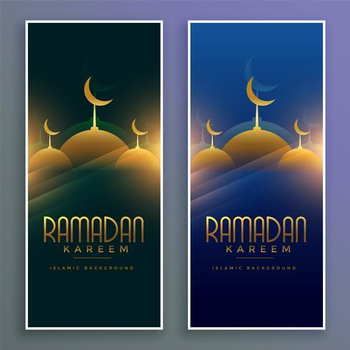 mosquée musulmane brillante ramadan kareem bannières verticales