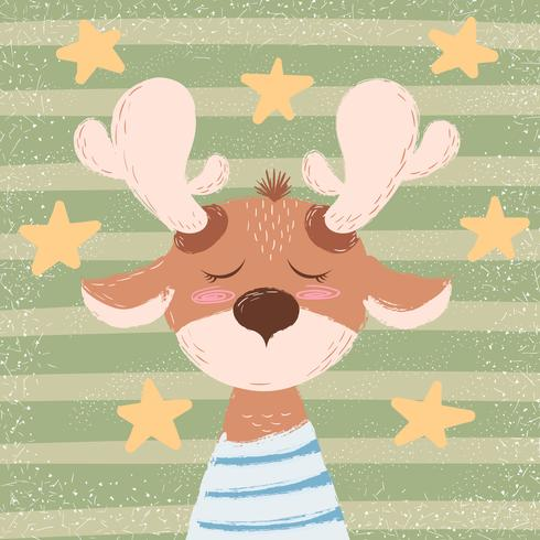 Cartoon funny deer character. Winter illustration.