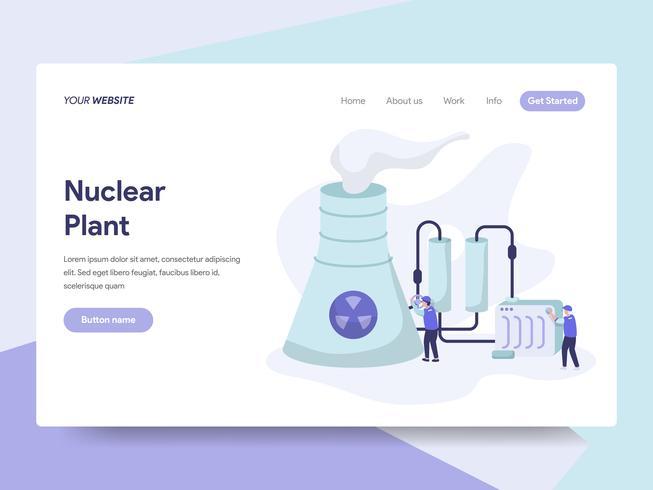 Modello della pagina di atterraggio del concetto dell'illustrazione della centrale nucleare. Concetto di design piatto isometrica della progettazione di pagine Web per sito Web e sito Web mobile. Illustrazione di vettore