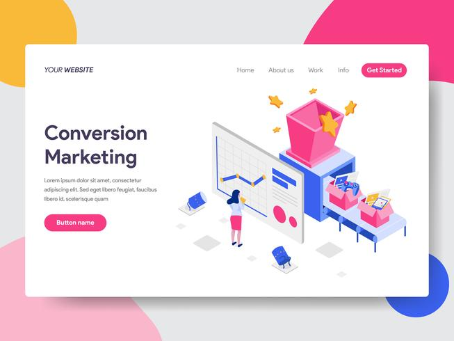 Landingspagina sjabloon van Conversion Marketing Illustratie Concept. Isometrisch plat ontwerpconcept webpaginaontwerp voor website en mobiele website Vector illustratie