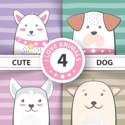 Establecer bonitos personajes de dibujos animados del perro.