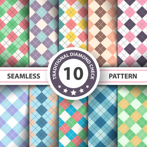 Seamless argyle plaid blue pattern. Diamond check - idea for your print. vector