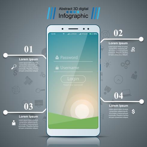 Digitaal gadget, smartphone tabletpictogram. Zakelijke infographic. vector