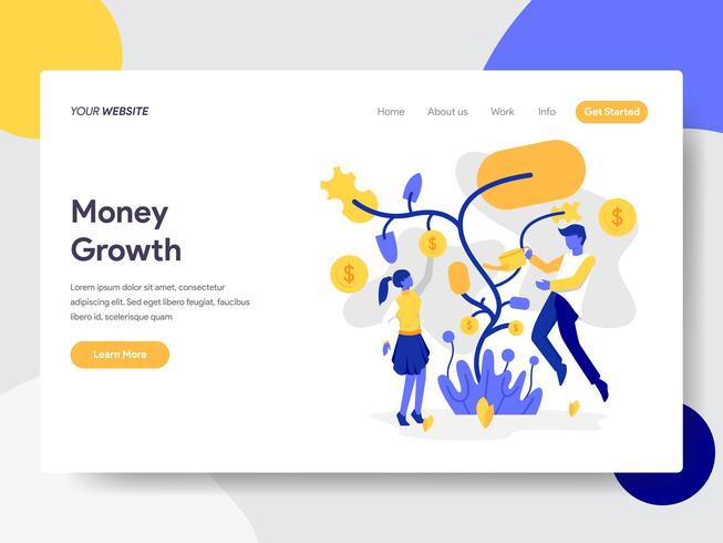Landing page template of Tree Money Growth Illustration Concept. Flat design concept of web page design for website and mobile website.Vector illustration vector