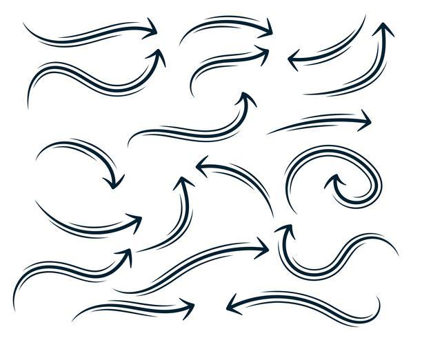hand drawn abstract curvy arrow set