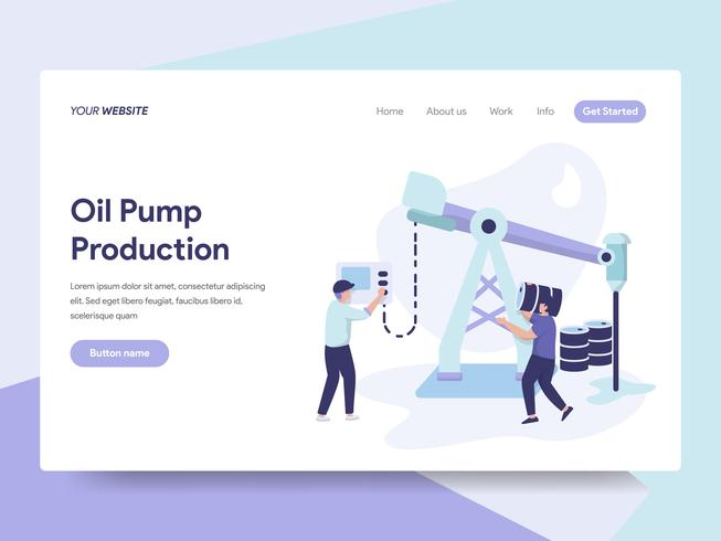 Landing page template of Oil Pump Production Illustration Concept. Isometric flat design concept of web page design for website and mobile website.Vector illustration vector